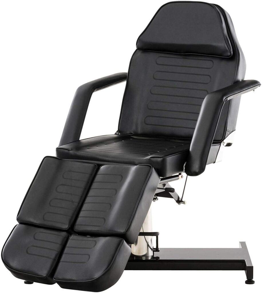 Table de Massage Hydraulique - Fauteuil De Massage Hydraulique Split V2 Similicuir I Hauteur Réglable Accoudoir Amovibles I Chaise Cosmétique Multifonction, Couleurs:Noir